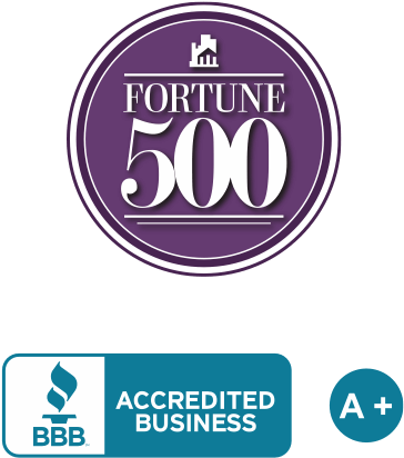 Fortune 500 badge and BBB accredited business badge